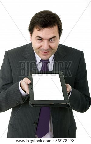 Young Businessman Using Ipad While Standing White Background