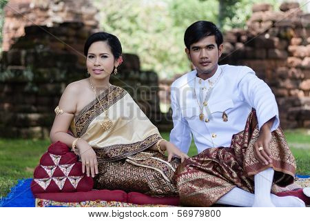 Asia Wedding couple in Thai suit