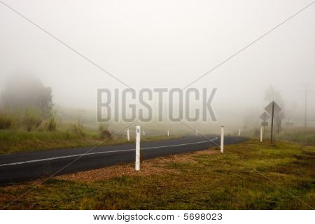 Early Morning Fog On Road
