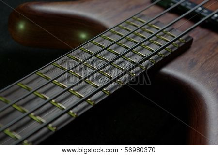 Bass guitar with brown body