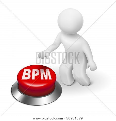 3D Man With Bpm Business Process Management Button