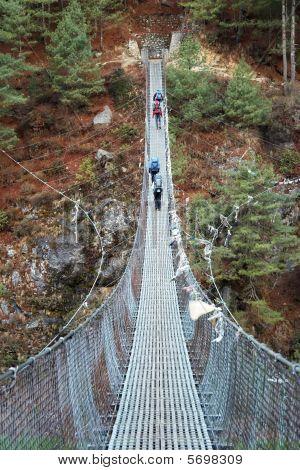 Rope Bridge In Himalaya, Nepal