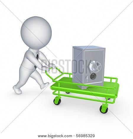 Safe on pushcart.