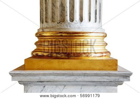 An ancient white marble classical column with gold incrustations