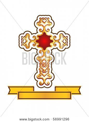 decorative cross with banner below