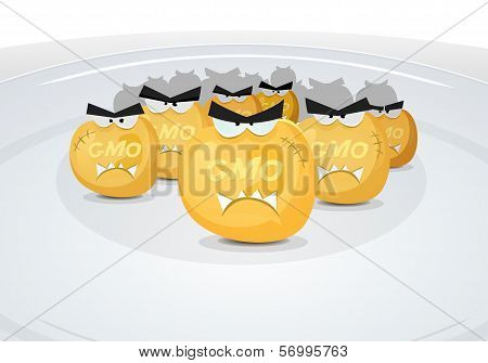 Illustration of cartoon angry poisoned corn grains genetically modified organism attack inside dish plate symbolizing toxic food and meal from the big industry poster