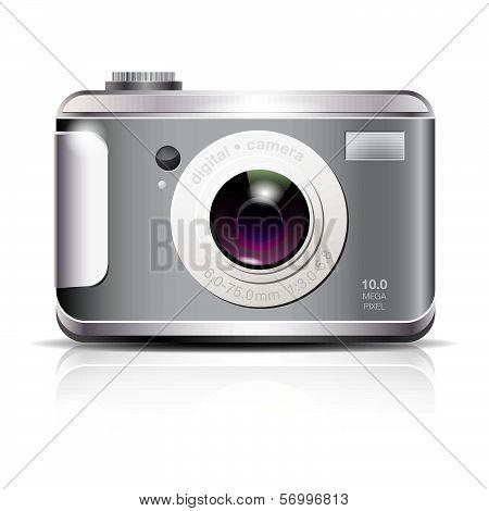 Elegant digital photo camera icon on white background