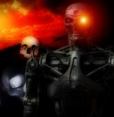 An image of a futuristic war involving androids. poster