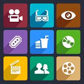 Movie Infographic flat icons set  for Web and Mobile Applications poster