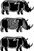 Set of wild rhinoceroses isolated on white poster