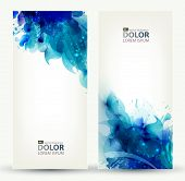 set of two banners, abstract headers with blue blots  poster