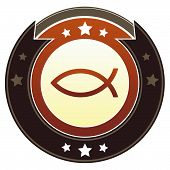 Christian Jesus fish icon on round red and brown imperial vector button with star accents poster