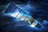 Television Signal Satellite with Large Solar Panels on Earth Orbit. 3D Render Illustration. Broadband Television Technology. poster