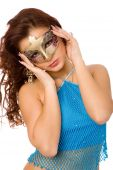 beautiful woman in blue dress and carnival mask on white background poster