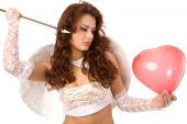 sexy woman dressed as angel with arrow and red balloon poster