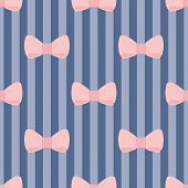 Seamless vector pattern with pastel pink bows on a navy blue and violet strip background. poster