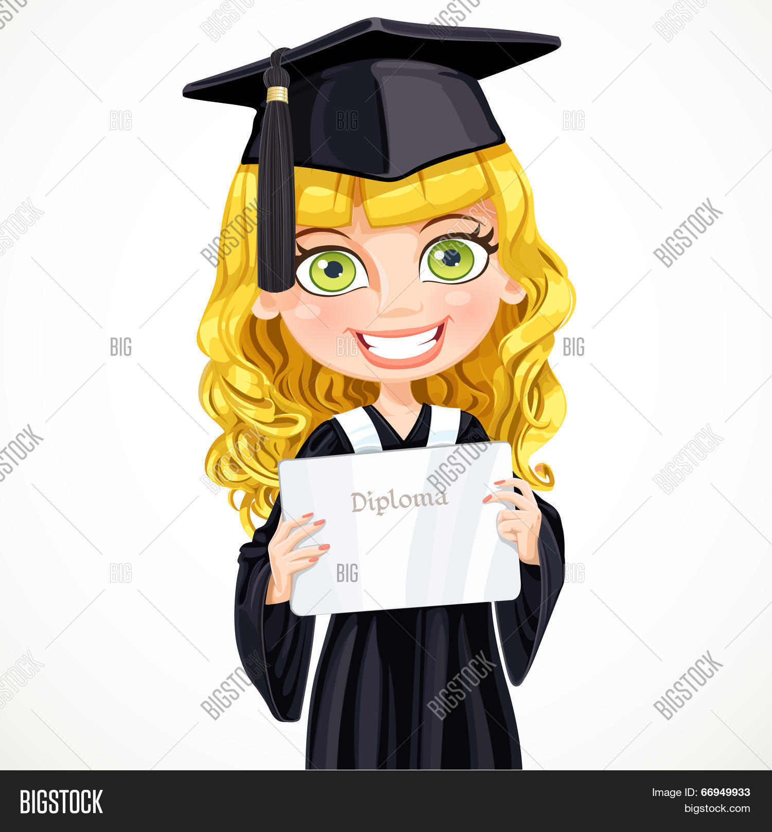Girl Cap Gown Vector & Photo (Free Trial) | Bigstock