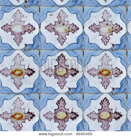 poster of Seamless tile pattern of ancient ceramic tiles.