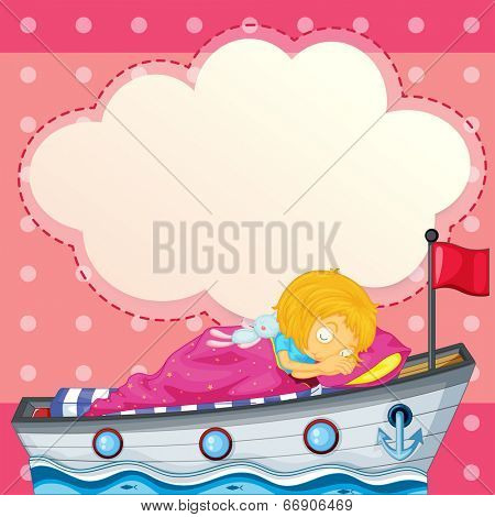 Illustration of a young girl sleeping at the ship with an empty callout