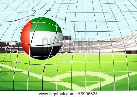 Illustration of a ball hitting a goal with the United Arab Emirates flag poster