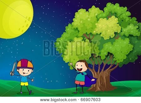 Illustration of the happy kids playing near the tree under the bright fullmoon