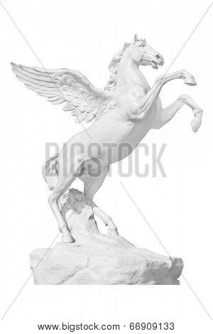 Pegasus statue isolated on white
