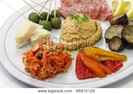 homemade assortment of appetizers, antipasto platter,hors d�oeuvres poster