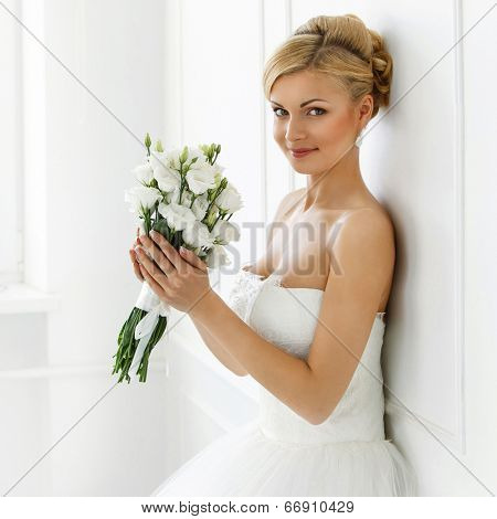 Wedding. Attractive bride with wide smile