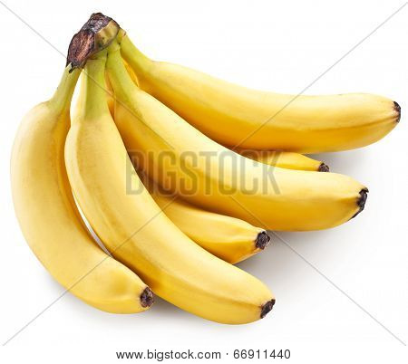 Banana fruits over white. File contains clipping paths.