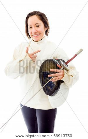 Female fencer holding a mask and sword with gesturing