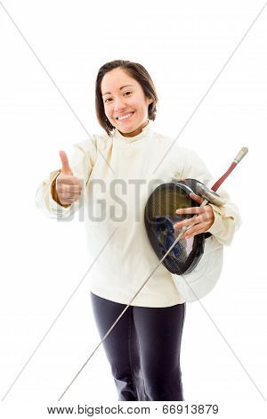 Female fencer showing thumbs up sign