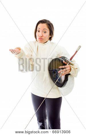 Female fencer shrugging