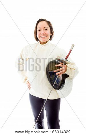 Female fencer smiling with her hand on hip