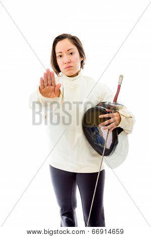 Female fencer making stop gesture sign