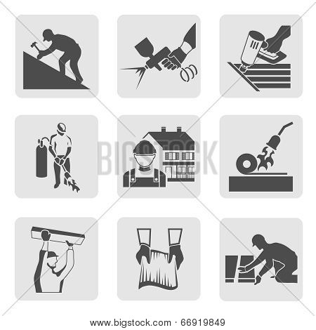 Roofer icons set