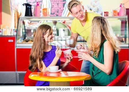 Friends meeting in ice cream parlor or cafe with cappuccino and ice-cream poster