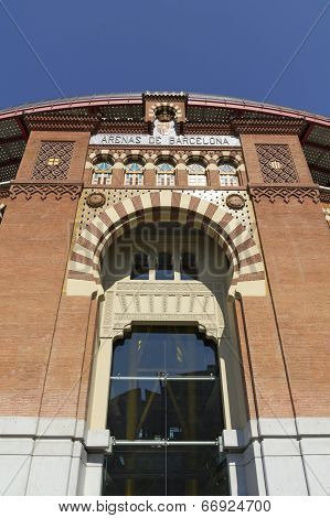 The Bullring Arenas on Spain Square Barcelona traditional architectural style neo-Mudejar. Catalonia Spain poster
