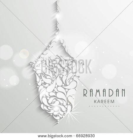 Hanging floral design decorated arabic lantern, creative greeting card design for holy month of Muslim community Ramadan Kareem.  poster