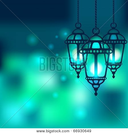 Ramadan lantern shiny background - vector illustration. eps 10 poster