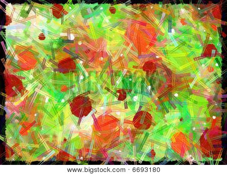 Amok On Canvas Green Orange