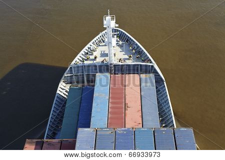 Beldorf - Bow Of A Container Vessel At The Kiel Canal