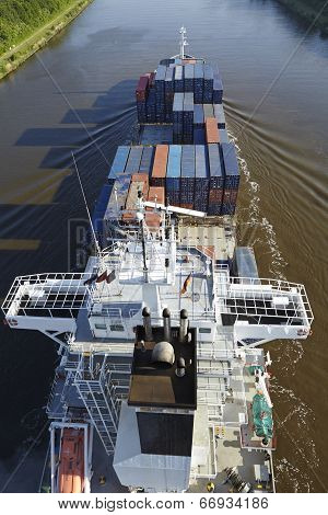 Beldorf - Container Vessel At The Kiel Canal