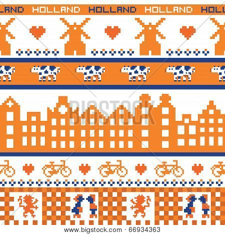 Seamless retro pixel Holland orange pattern