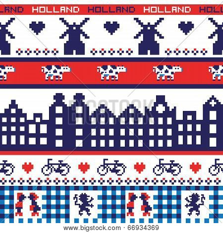 Seamless retro pixel Holland pattern