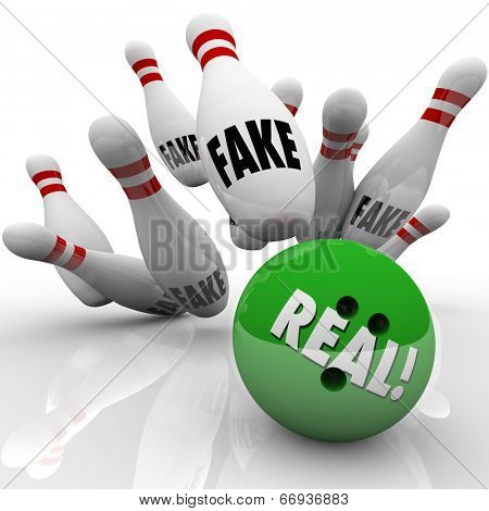 Real bowling ball striking pins marked Fake to illustrate an original product or idea