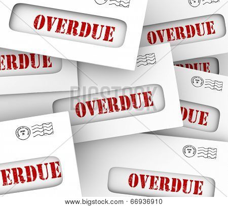 Overdue word in envelopes to illustrate bills that are late in payment and creditors