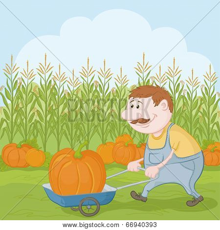 Men driven truck with pumpkin