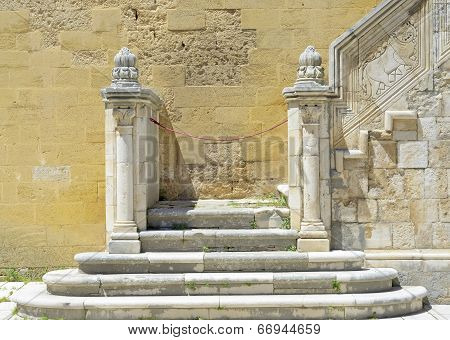Detail stone staircase in the courtyard of the Swabian castle