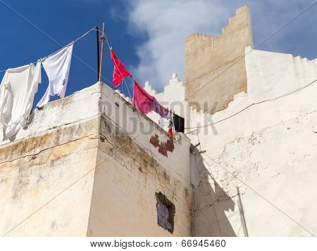 White Houses And Blue Sky. Madina, Old Tangier, Morocco