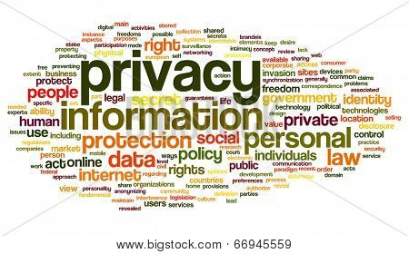 Information privacy in word tag cloud on white background